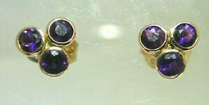 Amethyst-3-Stone-amp-9-Carat-Rose-Gold-Stud-Earrings-Rub-Over-Setting-1-5-grams