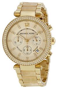 f59eb31daf04 Image is loading Michael-Kors-MK5632-Parker-Champagne-Dial-Gold-Tone-