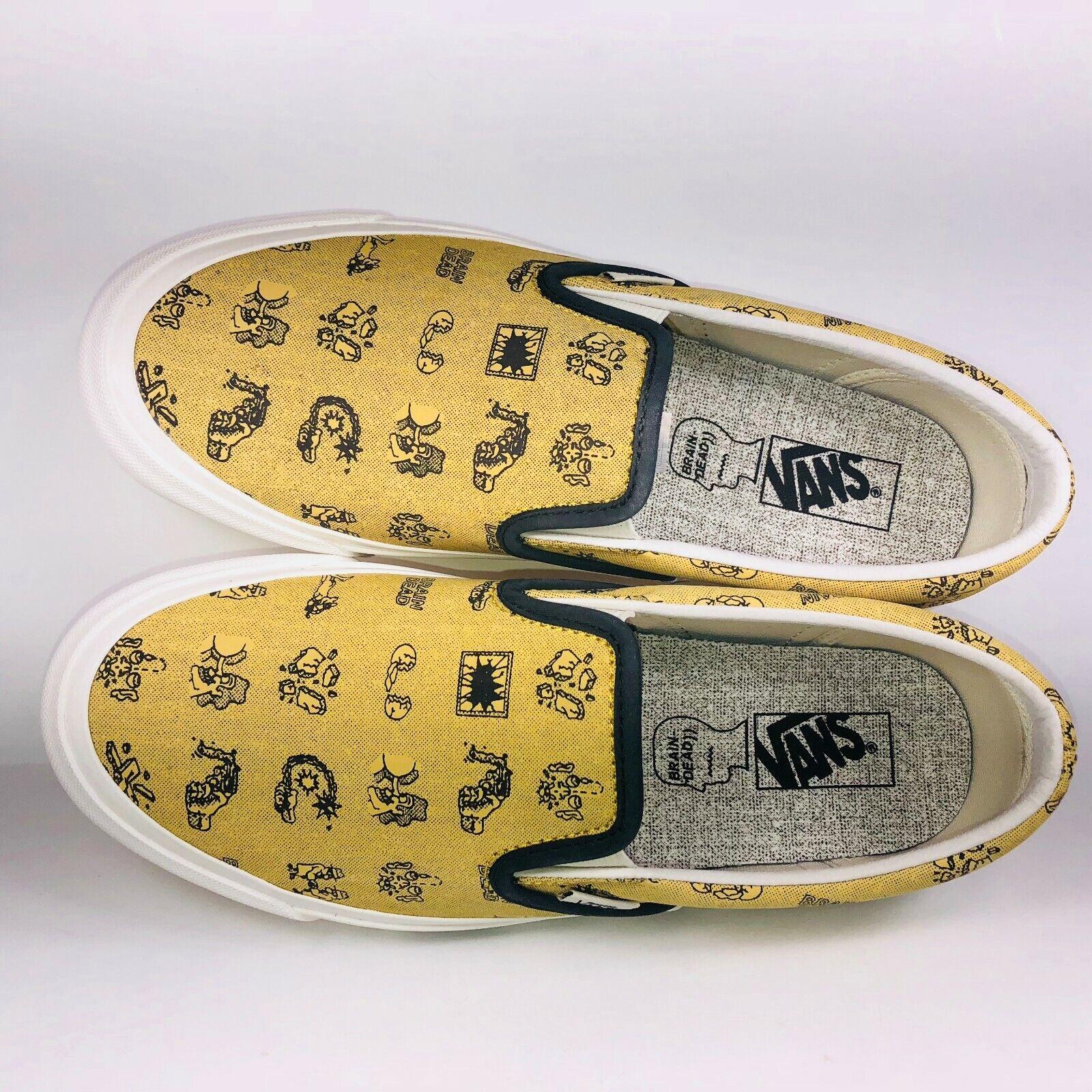VANS Brain Dead Classic Slip On LX Aspen gold White shoes VN0A38FJN8B Size 8