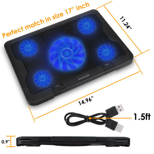 High Speed Fan Laptop Cooling Chill Mat Pad Adjustable Height Holder For Macbook