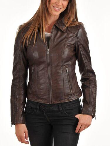 Slim Kvinders Fit ægte Motorcycle Soft lammeskind 025 mj læderjakke nwO6Uxw