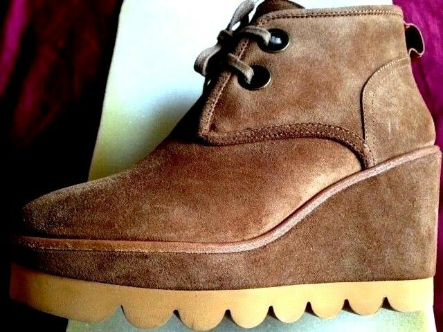 SEE BY CHLOE LIGHT BROWN SUEDE PLATFORM WEDGE ANKLE ANKLE ANKLE BOOTIES 38 fur lining NEW cded69