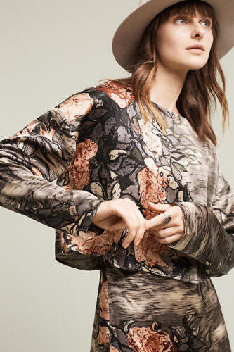 $398 Grey Motif NWT ANTHROPOLOGIE TRACY REESE Amsterdam Midi Dress sizes XS//S