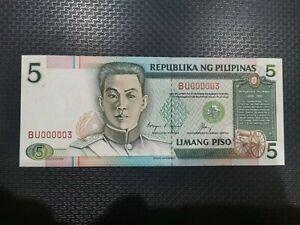 PHILIPPINES-5-PESOS-NDS-CORY-AQUINO-CUISIA-LOW-SERIAL-BU000003