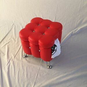 Red Vanity Foot Stool Chrome Legs Faux Leather Storage