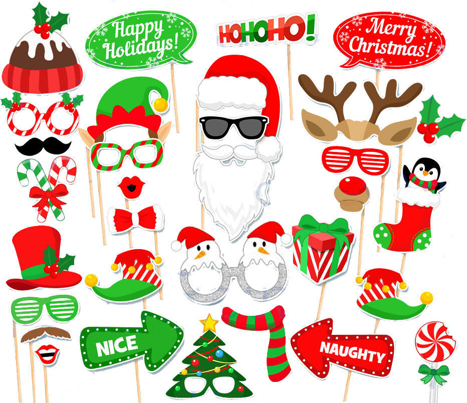 32pcs Diy Christmas Birthday Party Masks Photo Booth Props Supplies Decoration