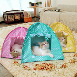 Pieghevole-Pet-Cat-Tent-Playing-Bed-House-Kitty-Camp-Waterproof-All-Dog-Kennel