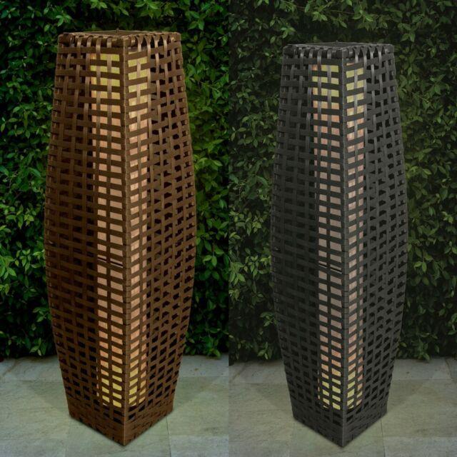 Solar Rattan Optik 69cm Led-Licht Außen Garten Terrasse Bodenlampe Laternen Neu