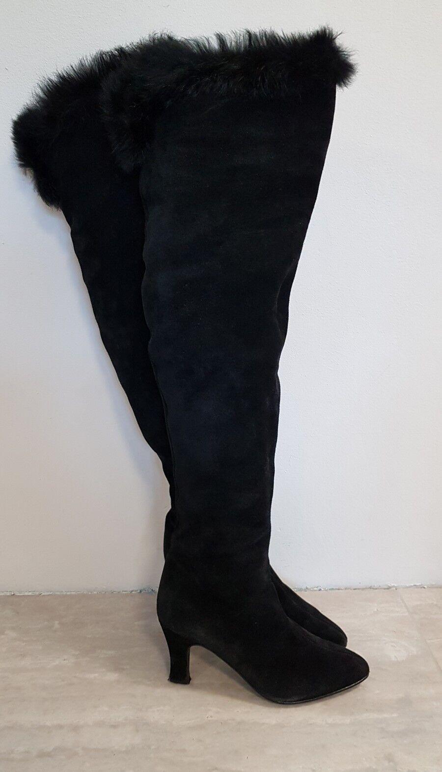 Toll Vintage Parisien 80er Leder Echtfell 38 Überknie Überknie 38 70cm Overknee Stiefel Bottes 9abae3