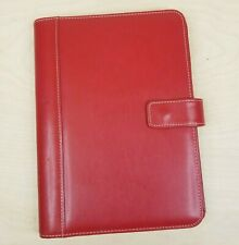 Franklin Covey Slim Classic Open Snap Wire Bound Binder Faux Leather Red