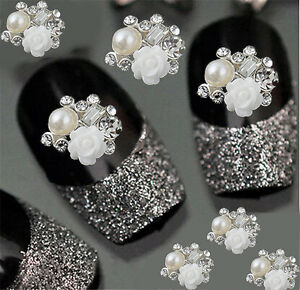 10pcs 3d White Rose Nail Art Decoration Alloy Jewelry Glitter
