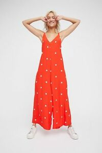 072a262d97a NEW FREE PEOPLE RED DREAM BIG POLKA DOT WIDE LEG JUMPSUIT SZ S SMALL ...