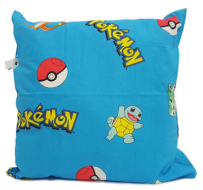 "Large Genuine Pokemon Cushion 21"" Square - Blue - 100% Cotton - Ready To Go"