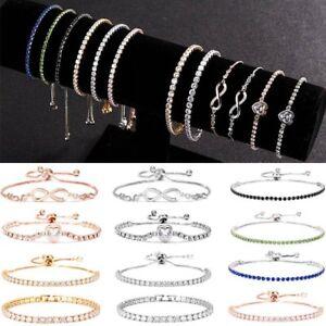 Adjustable-Silver-Infinity-Bridesmaid-Friendship-Bracelet-Cubic-Zircon-Crystal