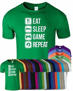 Eat Sleep Game Repeat Gaming Humor Mens T-Shirt Funny Birthday Top Tee T Shirt