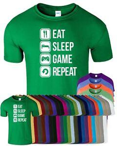 Eat Sleep Game Repeat Gaming Humor Mens T-Shirt Funny Birthday Top Tee T Shirt