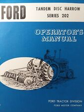 Ford Tractor Series 202 Tandem Disc Harrow 3 Point Hitch Implement Owners Manual