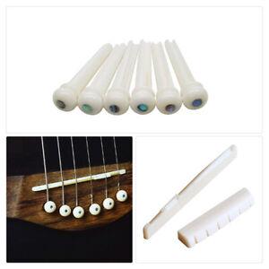 "Set of ""White Bone"" Bridge Pins + Saddle + Nut Parts fits Acoustic Folk Guitar"