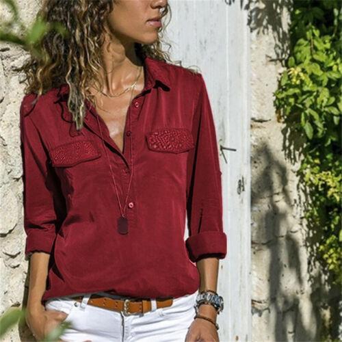 Damen Hemdbluse Langarm Shirt V Neck Arbeit Freizeit Knöpfen Shirt Blusenhemd 40