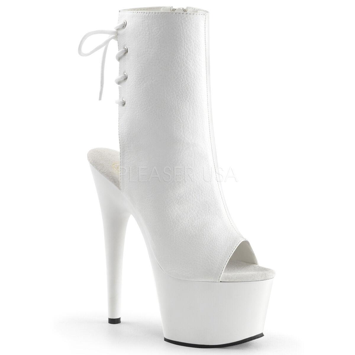 Pleaser Adore-1018 Sexy Platform White Pu 7  High Heels Stripper Ankle Boots