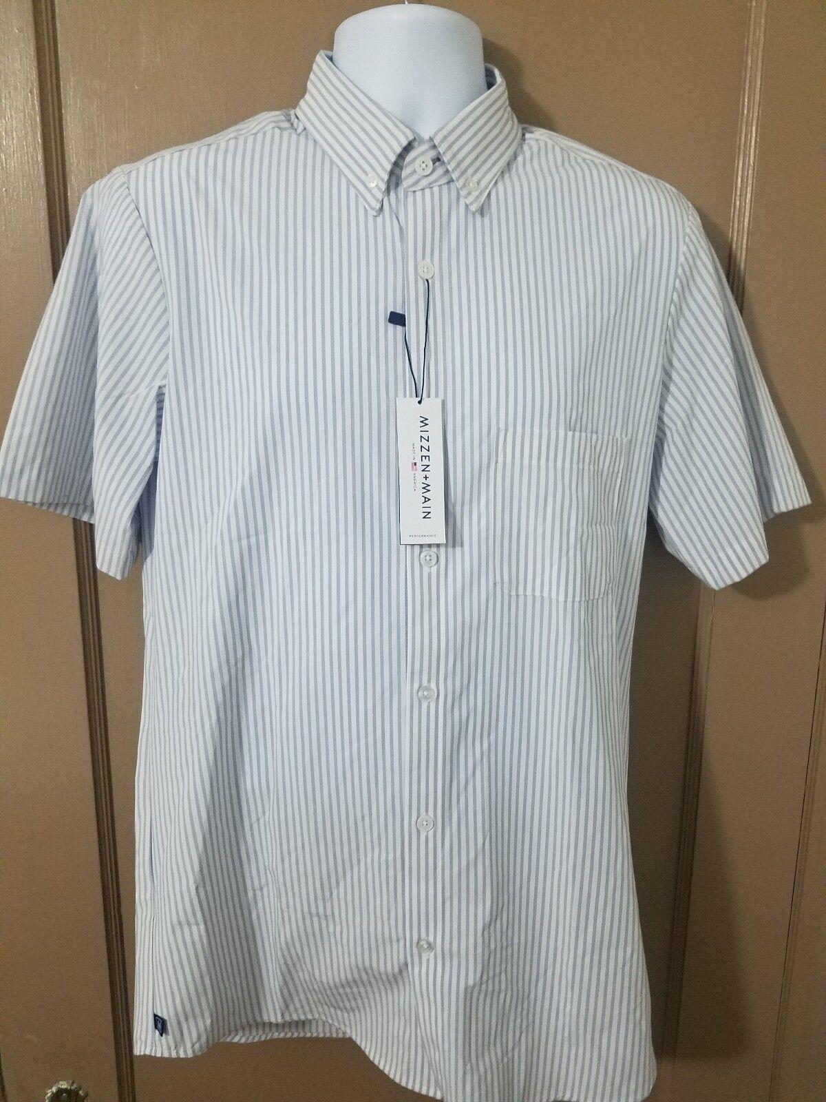 Mizzen+Main Leeward Collection Short Sleeve Medium Trim Fit Shirt striped grey