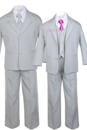 Boy Infant Toddler Light Silver Formal Suit Tuxedo S-20 New 6pc Extra Neck tie