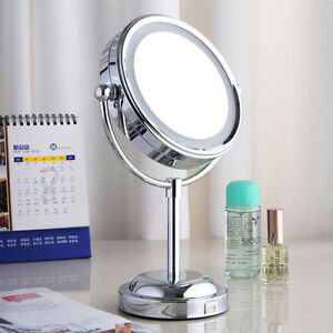 Led Light Double Side 3x Magnifying Make Up Mirror With
