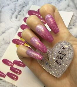 Pink Glitter Heat Thermal Change Extra Long Coffin Nails Set Ebay
