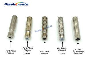 5pcs RepRap MK V5 M6*26//30//40mm Throat With//No PTFE Tube for 1.75//3mm filament