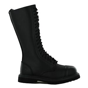 Grinders-Men-039-s-Ladies-Hawk-King-Black-20-Hole-Safety-Cap-Steel-Toe-Boots-Leather