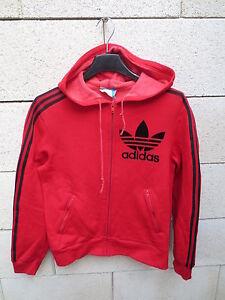 Détails sur Veste à capuche ADIDAS vintage Trefoil rouge VENTEX tracktop jacket 70's FRANCE