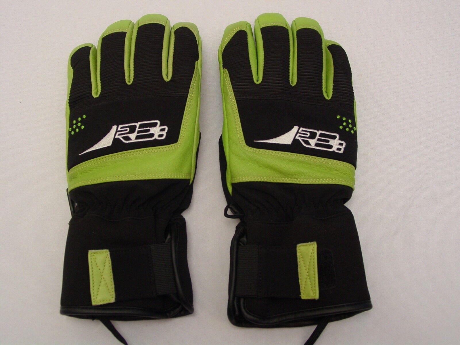 Reusch Slash Leder Palmen Ski Handschuhe Medium 8.5 4102205s Schwarz & Grün