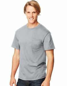 3XL Best Seller 4-Hanes Beefy-T Adult POCKET T-Shirts ASSORTED COLORS Sizes S