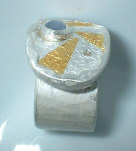 Ring-Stern-dunkelblauen-Sternsaphir-Silber-999-Gold-750-Flamere-Galerieschmuck