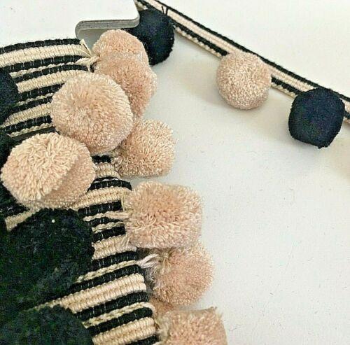 Designer Gold Black Pink Blue Black Grey Sage Teal  Pom Pom Trimming