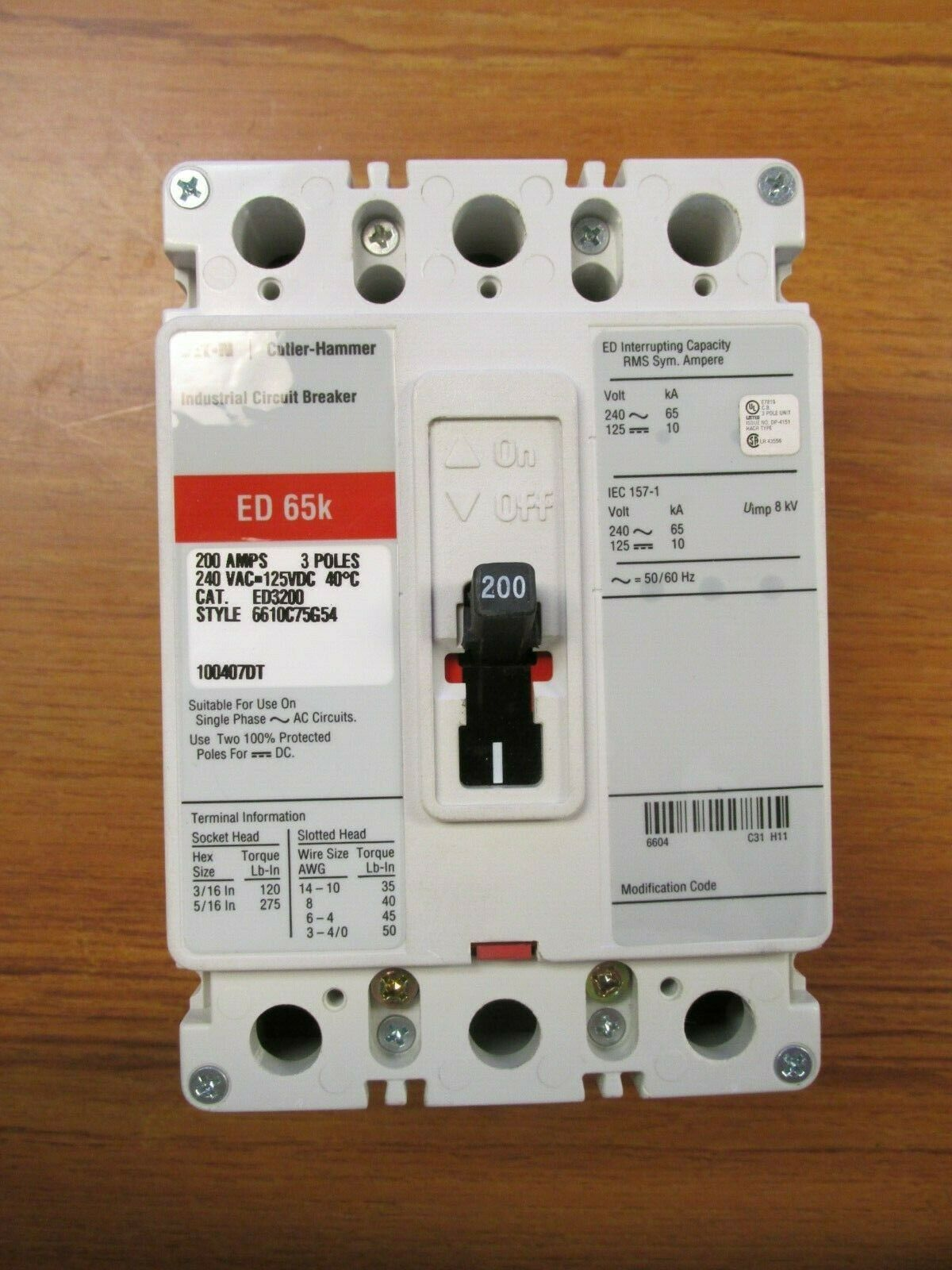ED2200 Bolt-On Circuit Breaker 200A 600V ED Series C Cutler Hammer,Eaton,Westing