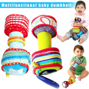 1-Pair-Infant-Baby-Rainbow-Colourful-Soft-Rattle-Dumbbells-Kids-Interactive-Toy
