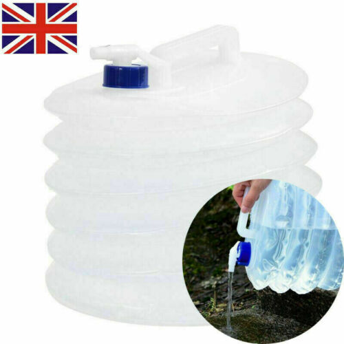 5L Collapsible Folding Water Container Bucket Carrier Tap Storage Camping Bottle