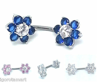 Double End Flower Dangle Button Barbell Belly Navel Ring Bar Body Piercing  925