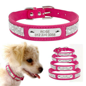 Bling-Diamante-Personalized-Dog-Collars-Soft-Suede-Leather-Engraved-Cat-Dog-Name