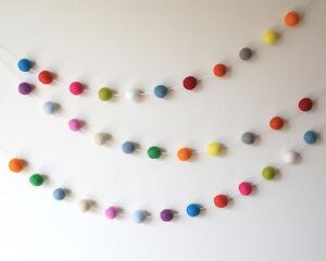 Image Is Loading Handmade Felt Ball Garland Gender Neutral Pom