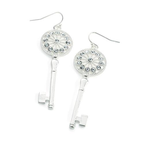 Señoras Pendientes de clave de Cristal de Color Plata Moda Joyería