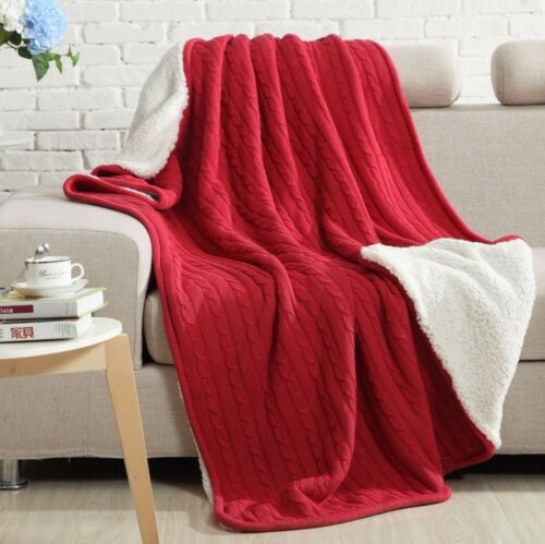 Warm Knitted Throw Rug with Fleece Lining 200cm Bed Runner 150