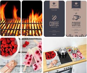 2er Set Glas Herdabdeckplatte Abdeckung Ceranfeld Schneidebrett Kaffee Eis Feuer