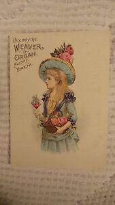 Antique-Victorian-Trade-Card-WEAVER-ORGAN-YORK-PA-Girl-Blue-Dress-Pink-Flowers