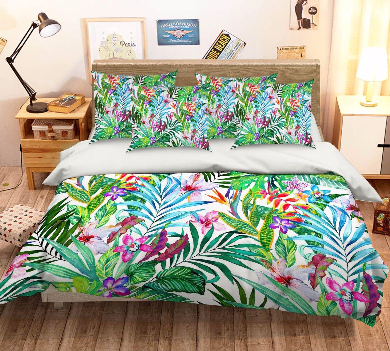 3D Plants Flower Bett Pillowcases Quilt Duvet Startseite Set Single Königin König Größe AU