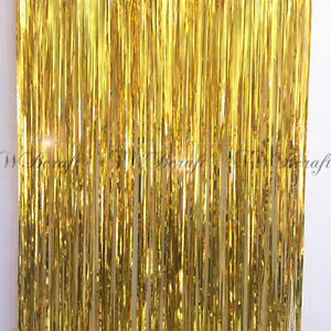 Gold-Metallic-Foil-Fringe-Tinsel-Curtain-Wedding-Backdrop-Xmas-Party
