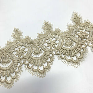 2 Yards Embroidery Lace Trim Guipure Mesh Floral Ribbon Dress Sewing Craft DIY