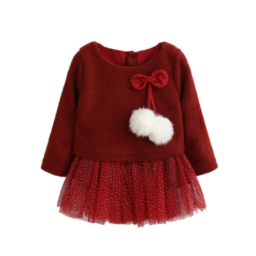 Toddler Kids Girls Spring Long Sleeve Knitted skirt Girls Tutu Princess Dress