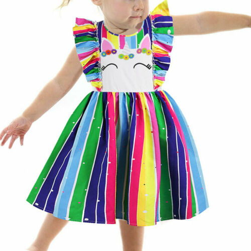 Flower Girls Unicorn Swing Tutu Dress Princess Birthday Party Dress Up Holiday
